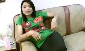 Baby complexion Oriental legal age teenager spreads calvous vagina be beneficial to foreign bushwa
