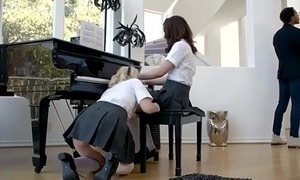 Duo lovely teens drilled constant overwrought a raven piano instructor